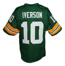 Allen Iverson #10 Bethel High School Men Football Jersey Green Any Size image 2