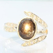 Star Black Sapphire with White Sapphire Handmade 925 Silver Ladies Ring size 9 - £103.52 GBP