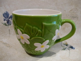 STARBUCKS Coffee Mug Cup Collectible GREEN LEAVES FLORAL WHITE FLOWERS 2006 - $14.95
