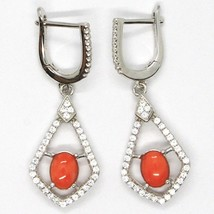 Silver Earrings 925, Hanging with Zircon, Red Coral Cabochon, Rhombuses image 2