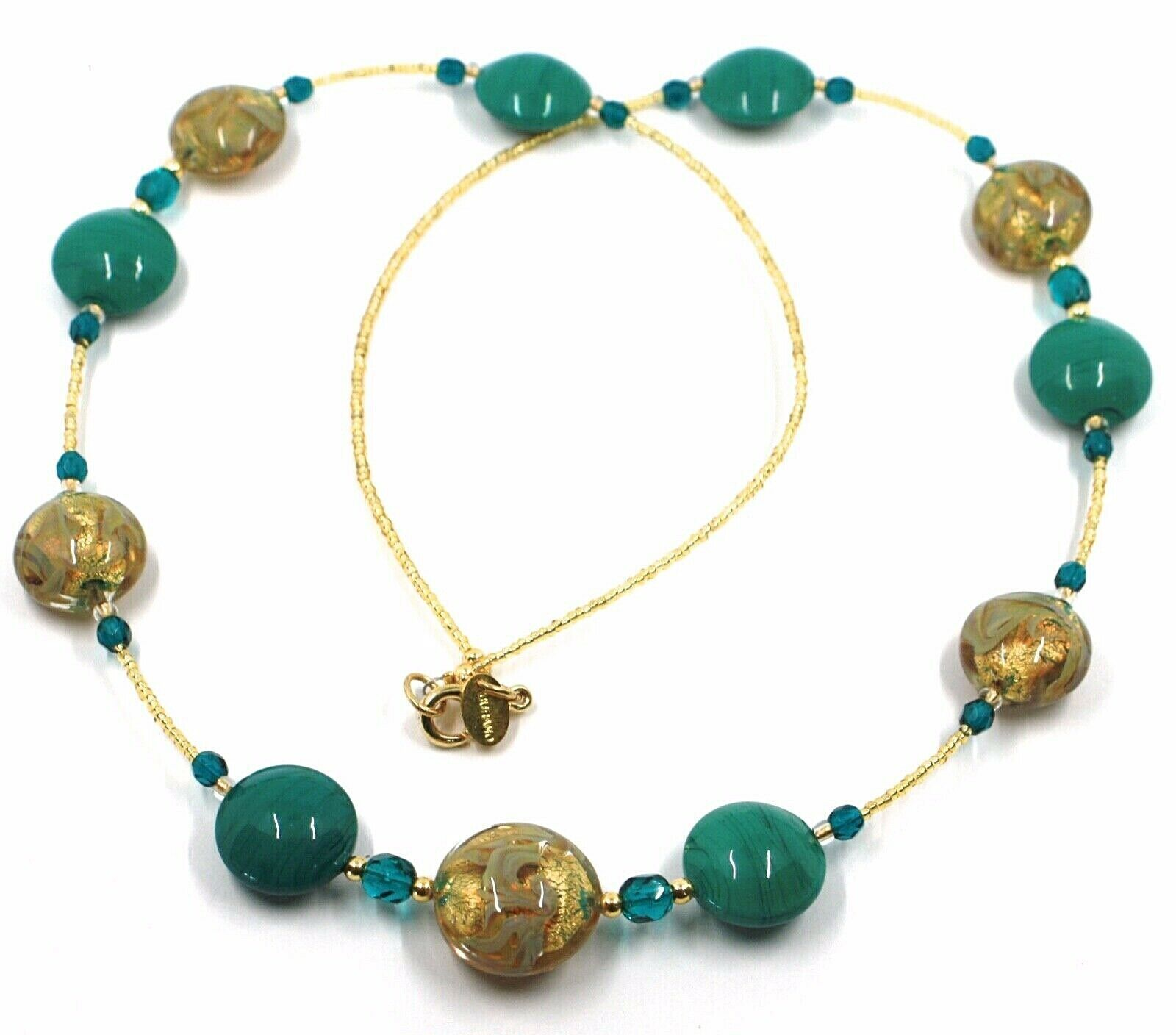 "LONG NECKLACE GREEN YELLOW MURANO GLASS DISC GOLD LEAF, 70cm, 27.5"" ITALY MADE"