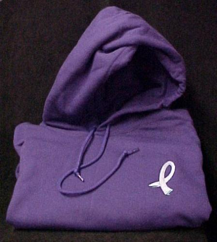 Primary image for Walking Ribbon Cancer Awareness Purple Relay for Life Sweatshirt Hoodie M New