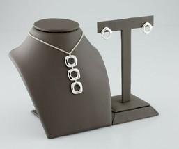 Tiffany & Co. Plata de Ley Cojín Cuadrado Pendiente y Colgante Set - $594.00