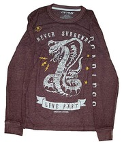 Never Surrender Live Fast Maroon Long Sleeve Thermal Graphic T-Shirt - $11.99