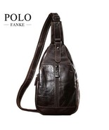 BDF Vintage Oil Wax Genuine Leather Chest Bag Men Sturdy Travel Cross-bo... - $63.81