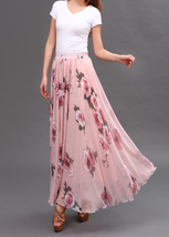 FLORAL Chiffon Long Skirt Dusty Blue Flower Silk Chiffon Skirt Summer Wedding  image 14