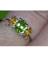 .87ct Oval Peridot with Yellow Marquise Sapphire Accts Sterling Silver R... - $50.00