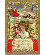 Here Comes Santa Claus Vintage 1910 Post Card - $7.00