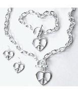 3 PC SET Peace Sign Heart Necklace/Pendant Earrings NP142 - $12.99