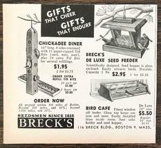 1944 Brecks Seedsmen Boston Holiday Print Ad Chickadee Diner Bird Cafe F... - $8.95
