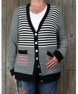 St John Cardigan Sweater L size Black White Red Womens Lightweight Wool ... - $78.71