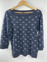 Ann Taylor Sweater L Large Wool Blend Bow Print Navy Blue - $34.65
