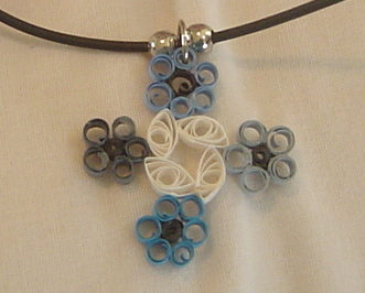 Paper Quilled Handcrafted Four Corner Flower Necklace