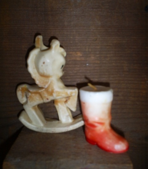Santa Boot Candle and Rocking Pony Candle Holder, Vintage Co