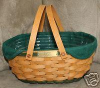 Longaberger 2004 Get Together Basket Ivy Green Fabric Over Edge Liner New In Bag