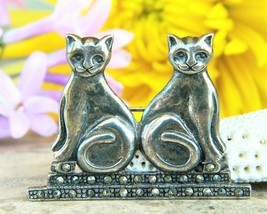 Vintage two cats brooch pin sterling silver marcasite signed boma 925 thumb200