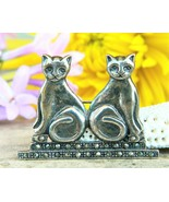 Vintage Two Cats Brooch Pin Sterling Silver Marcasite Signed Boma 925 - $29.95