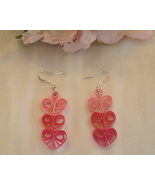 Handcrafted Paper Quill Triple Pink Hearts Earrings - $12.99