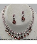 Purple amethyst crystal necklace jewelry set br... - $22.77