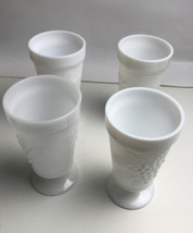 4 Footed Indiana Milk Glass Harvest Cups - Grapes - Drinking - Depression - $21.78