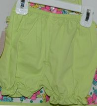 Mon Petit Lime Green Flowered Babydoll Top Bloomers Elastic Headband 18 Month image 3