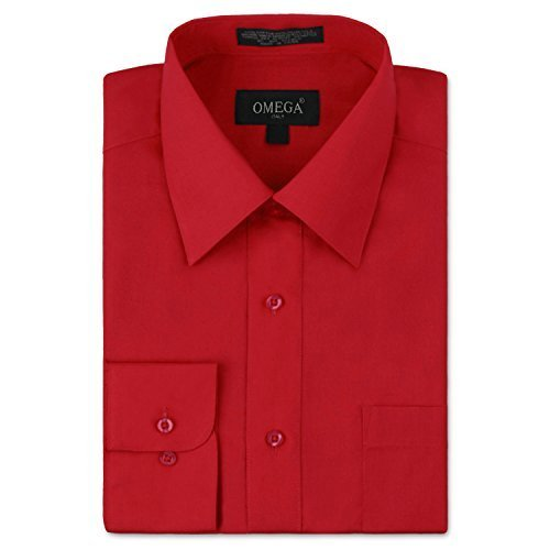 Omega Italy Men's Long Sleeve Dress Shirt Solid Color Regular Fit 25 Colors
