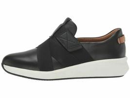 Clarks Un Rio Strap Black Women's Comfort Leather Sneakers 45614 - $114.00
