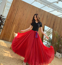Women High Waist Floor Length Chiffon Skirt Purple Red Chiffon Bridesmaid Skirt