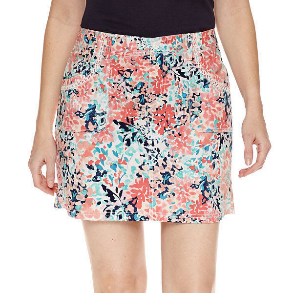 St. John's Bay Floral Cotton Blend Skorts 2P, 4P, 6P, 8P, 10P, 12P, 14P, 16P New