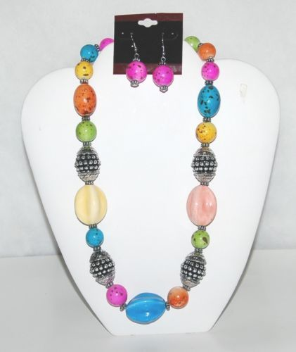 Generic Multi Colored Beaded Necklace Earring Set Silver Color Accents
