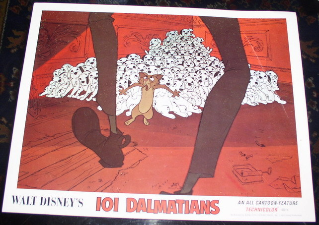 Disney  101 Dalmatians dogs and cat Lobby Card
