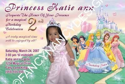 Primary image for Custom Photo Disney Princess Birthday Party Invitations 3rd 4th 5th 6th 7th 8th
