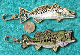 TWO (2) EMBROIDEDED FISH KEY CHAINS - SPECKLED TROUT & LARGEMOUTH BASS -... - $5.89