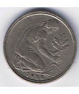 1950 J German 50 Pfennig Bundesrepublik Deutschland World Coin  - €2,25 EUR