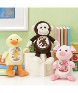LOT 3  Plush Pets pig monkey duck baby gift 18ct aida bib Charles Craft - $25.50