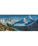 MOUNT EVEREST VIEW AFTER TENGBOCHE ORIGINAL ACRYLIC PAINTING IN CANVAS 1... - $89.05