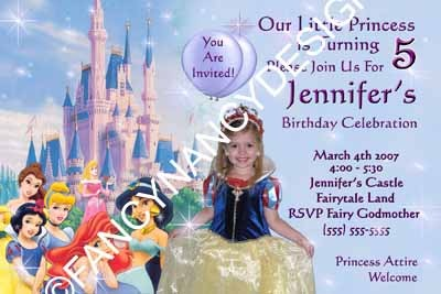 Primary image for Disney Princess Birthday Party Invitations Custom Photo Snow White Cinderella