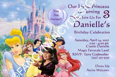 Primary image for Disney Princess Custom Photo Birthday Party Invitation Mulan Little Mermaid