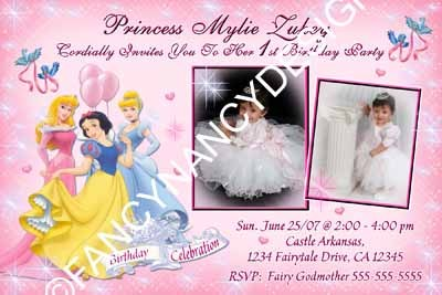 Primary image for Snow White Aurora Cinderella Disney Princess Custom Photo Birthday Invitation