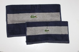 Lacoste NWT Signature Croc Navy Blue & Gray Striped Set Hand Towel & Washcloth - $47.79