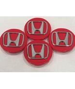 "4X Honda Center Caps Red Chrome 2.75"" / 69MM CRV Civic Fit Pilot Accord ... - $18.80"