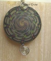 Smoky Green & Purple Spiral Lamp Work Sterling Silver Pendant - $27.99