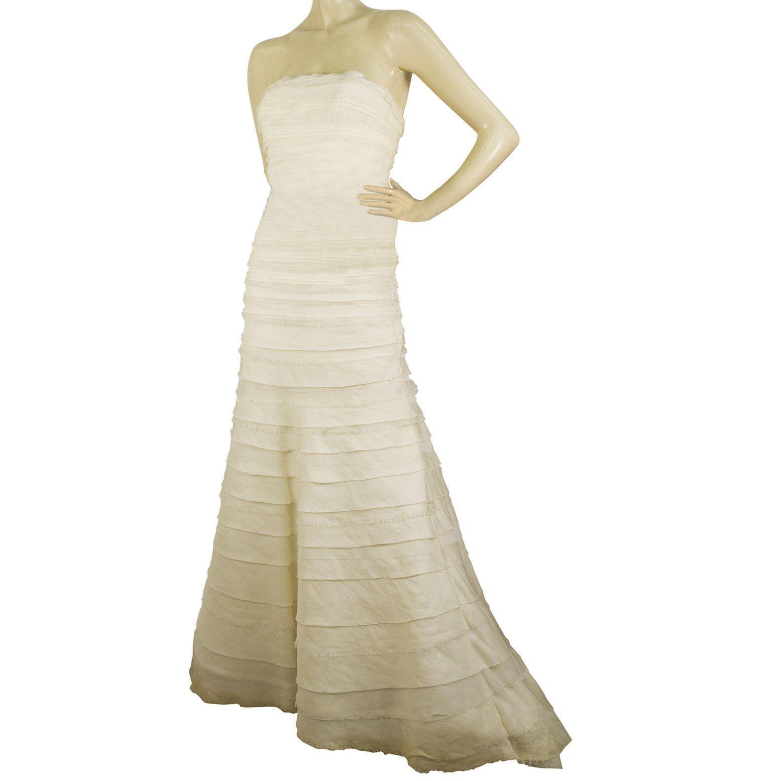 Vera Wang Silk Floor Length Bridal Wedding Gown Dress Strapless US 8 EU 42 image 3