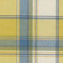 Longaberger Medium Canister Basket Cornflower Plaid Blue Yellow Fabric L... - $12.55