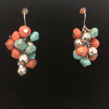 Coral & Turquoise Colored Beads Dangle Drop Hook Earrings J6470 - $8.55