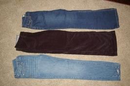 3 Pair Girls Pants So Blue Jean & Black Plush Old Navy Blue Jean 14 Slim... - $19.99