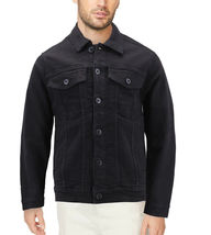 Men's Classic Distressed Casual Button Up Stretch Jean Trucker Denim Jacket image 8