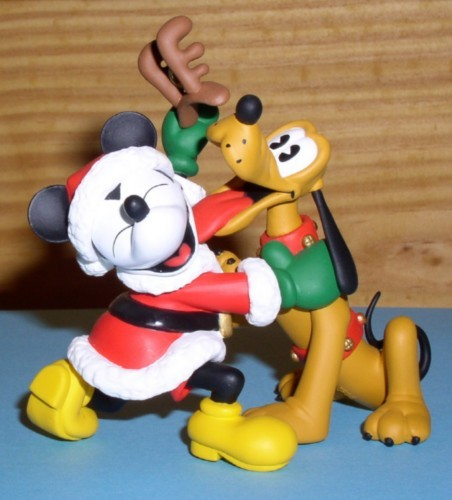 Disney Mickey & Pluto as a  raindeer Noel  Ornament