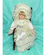 "Beautiful Porcelain 8"" Doll and Wooden Rocking Chair - $18.00"