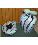 Retro Carstens West German Pop Art  Pottery Vase Bowl Set - $64.99